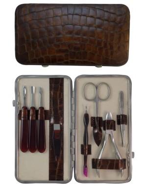 Coffret Manucure et Pedicure 8 pièces en Cuir Maron Croco - Tenartis Fabriqué en Italie