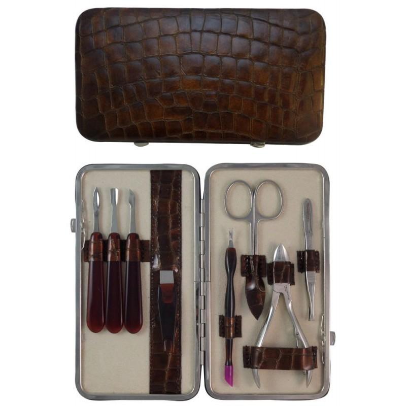 Coffret Manucure et Pedicure 8 pièces en Cuir Marron Croco - Tenartis Fabriqué en Italie