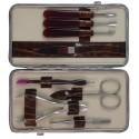 Set Manicura y Pedicura 8 Piezas en Piel Marrón Croco - Tenartis Made in Italy