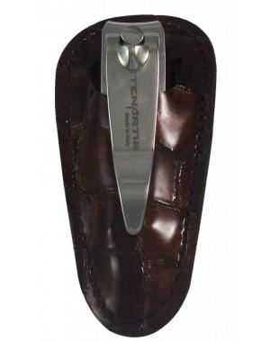 Nagelknipser mit Feile im Braun Croco Leder Etui - Tenartis Made in Italy