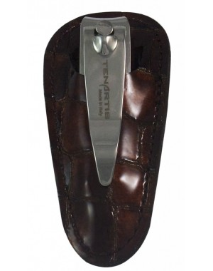 Nail Clipper with File in Brown Croco Genuine Leather Case - Tenartis Made in Italy