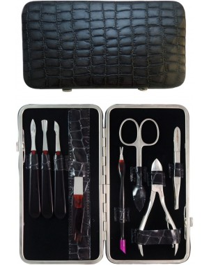 8-Piece Grey Croco Genuine Leather Manicure and Pedicure Set - Tenartis Made in Italy