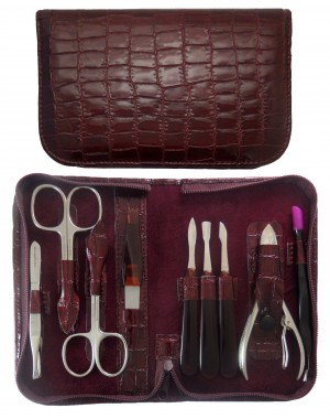 9-Piece Burgundy Croco Genuine Leather Manicure and Pedicure Set with Zipper - Tenartis Made in Italy