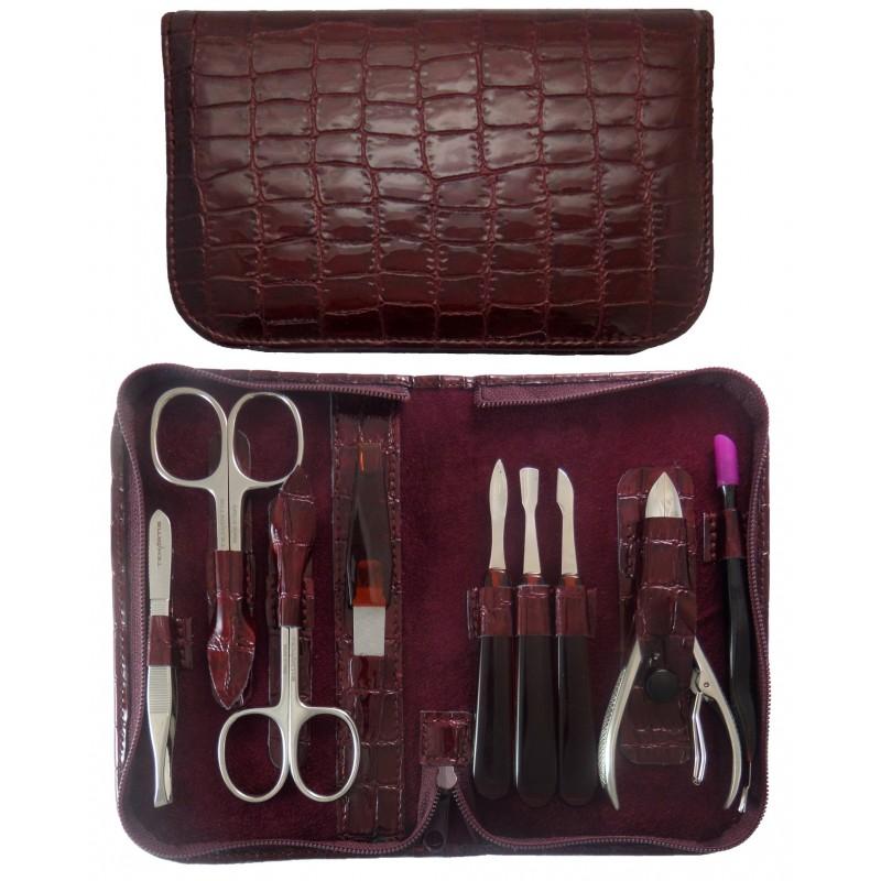 Set Manucure et Pedicure 9 pièces en Cuir Bordeaux Croco avec Fermeture à Glissière - Tenartis Fabriqué en Italie