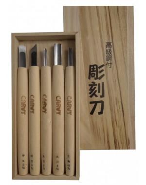 Set 5 Couteaux de Sculpture Carvy - Michi Hamono Fabriqué au Japon