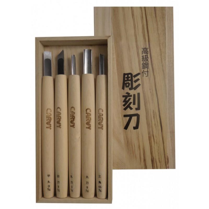 Juego de 5 Cuchillos y Gubias para Madera - Carvy Michi Hamono Made in Japan