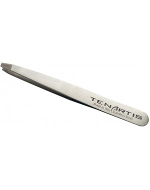 Straight Stainless Steel Hair Tweezers with Leather Case - Tenartis Made in Italy