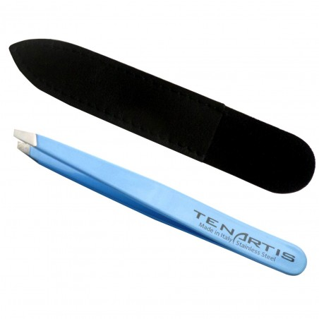 Slant Stainless Steel Hair Tweezers with Leather Case - Tenartis Made in Italy