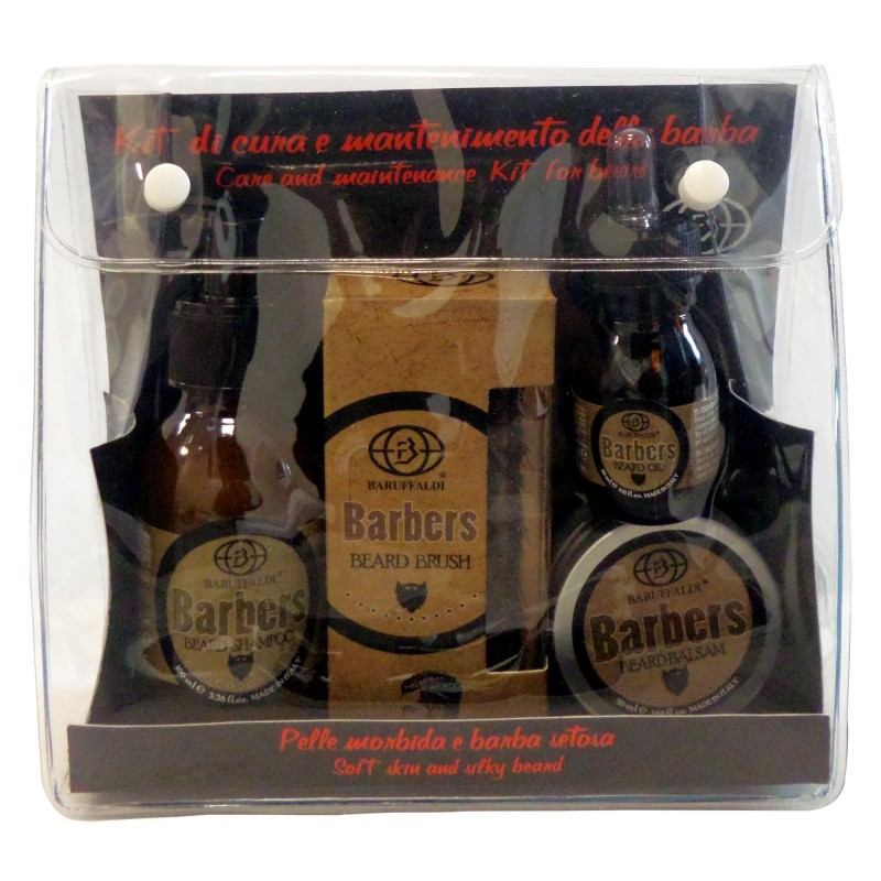 4 pc. Beard Grooming Kit: Beard Shampoo, Beard Balm, Beard Oil, Beard Brush - Barbers by Baruffaldi