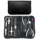 8-Piece Black Nappa Genuine Leather Professional Manicure and Pedicure Set with Zipper - Tenartis Made in Italy