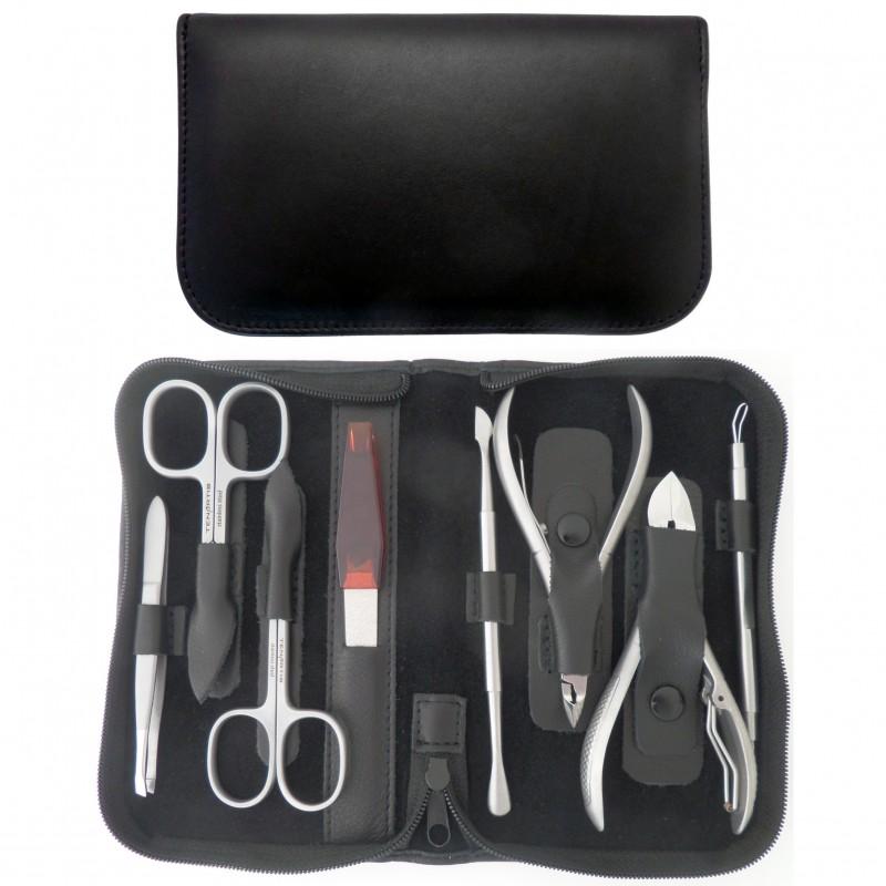 Set Manicure e Pedicure Professionale 8 Pezzi Inox in Vera Pelle Nero Nappa con Cerniera - Tenartis Made in Italy