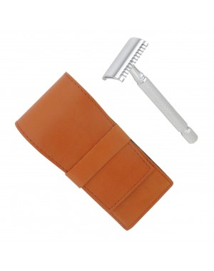 Open Comb Safety Razor, Chrome-Plated with Leather Case - Castiles Original