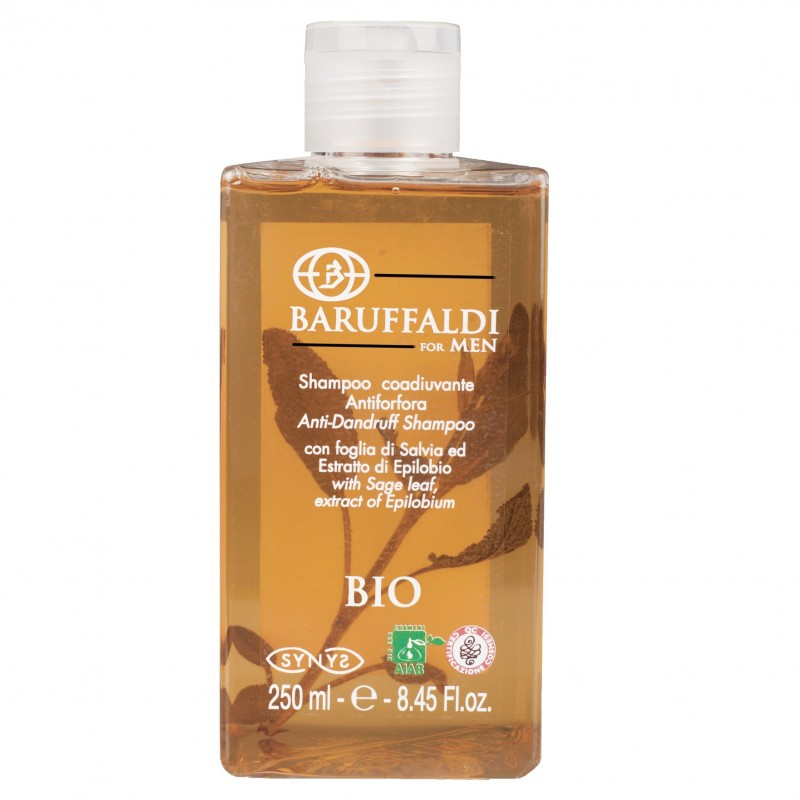 Anti-Schuppe BIO Shampoo mit Salbeiblatt und Epilobium Extract 250 ml/8.45 Fl.oz. - BaruffaldiBio for Men Made in Italy