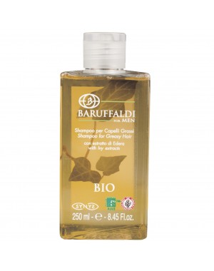 BIO Anti-Fett Shampoo für fettiges Haar mit Efeu Extrakt 250 ml/8.45 Fl.oz. - BaruffaldiBio for Men Made in Italy