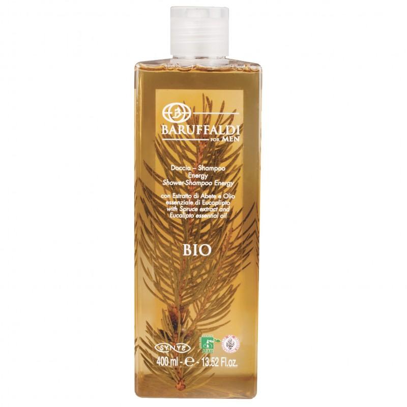Doccia Shampoo BIO Energy Uomo con Estratto di Abete e Olio Essenziale di Eucalipto 400 ml - BaruffaldiBio for Men Made in Italy