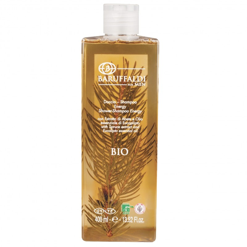 BIO Dusche-Shampoo Energy mit Fichte Extrakt and Essential Eukalyptus Öl 400 ml - BaruffaldiBio for Men Made in Italy
