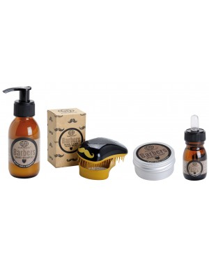 4 pc. Beard Grooming Kit: Beard Shampoo, Beard Balm, Beard Oil, Boar's Beard Brush - Barbers by Baruffaldi