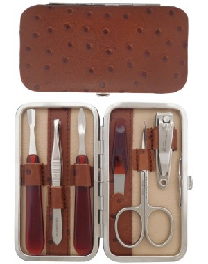 6-Piece Brown Genuine Leather Manicure Set - Tenartis Made in Italy