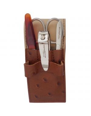 Kit Manicure 4 Pezzi in Vera Pelle con Tagliaunghie - Tenartis Made in Italy