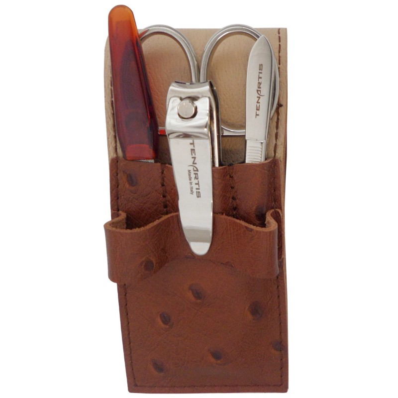 4-Piece Genuine Leather Men's Manicure Set with Nail Clipper - Tenartis Made in Italy