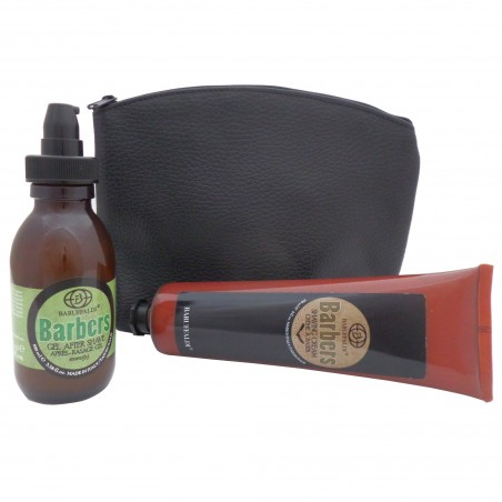 Beard Shaving Set: Shaving Cream and Energy After Shave Gel Barbers by Baruffaldi Made in Italy in Leather Pouch