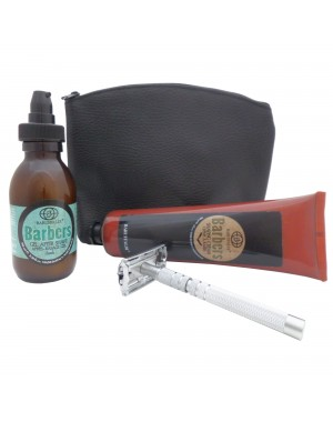 Beard Shaving Set: Shaving Cream, Fresh After Shave Gel and Butterfly DE Safety Razor Castiles Original in Leather Pouch