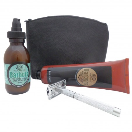Beard Shaving Set: Shaving Cream and Fresh After Shave Gel Barbers by Baruffaldi Made in Italy in Leather Pouch