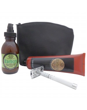 Rasierset: Rasiercreme, Energy After Shave Gel Barbers und Butterfly Rasierhobel Castiles Original in Leder Etui