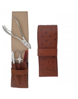 Set Manucure et Pedicure pour Homme 4 pièces en Cuir Marron - Tenartis Fabriqué en Italie