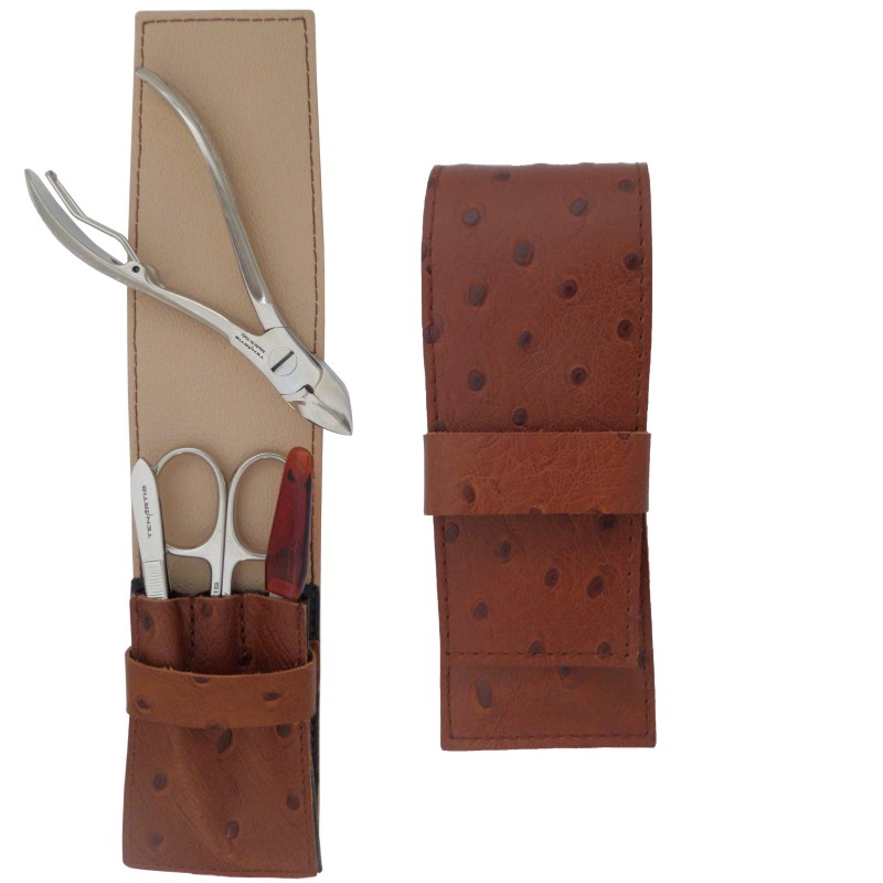 4-Piece Brown Genuine Leather Men's Manicure and Pedicure Set - Tenartis Made in Italy