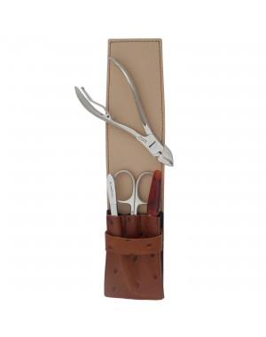 4 teiliges Maniküre und Pediküre Etui für Männer aus echtem Leder, Braun - Tenartis Made in Italy