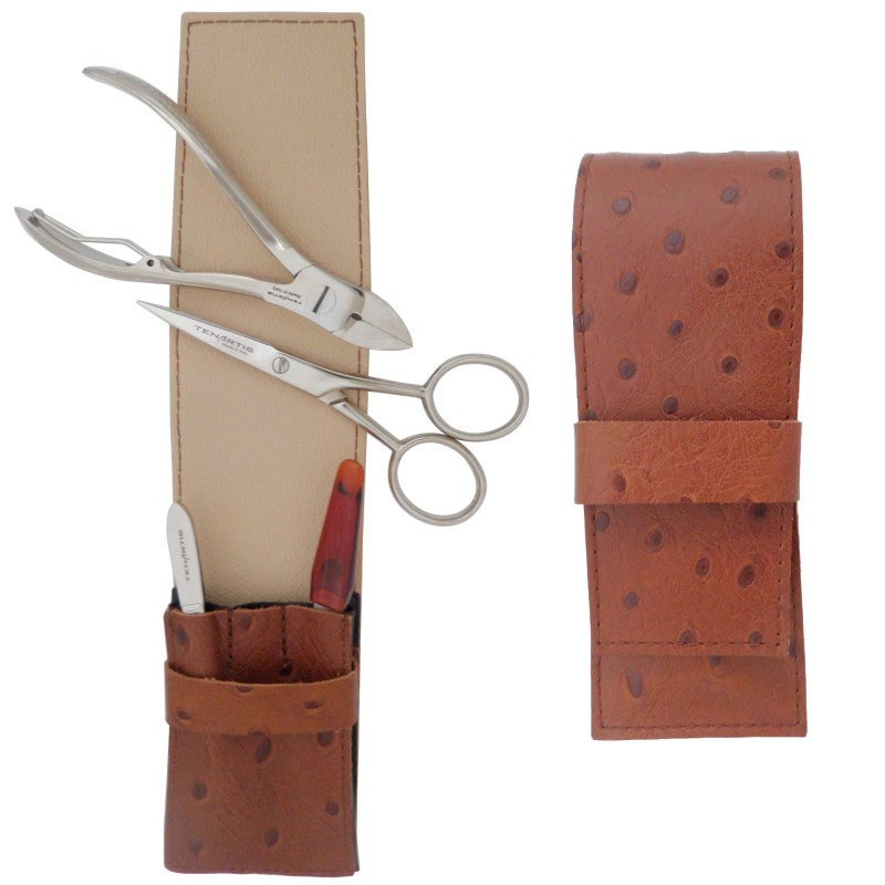 4-Piece Beige Leather Men's Grooming Set: Manicure, Pedicure, Beard and Moustache - Tenartis Made in Italy