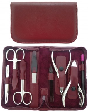 8-Piece Burgundy Genuine Leather Professional Manicure and Pedicure Set with Zipper - Tenartis Made in Italy
