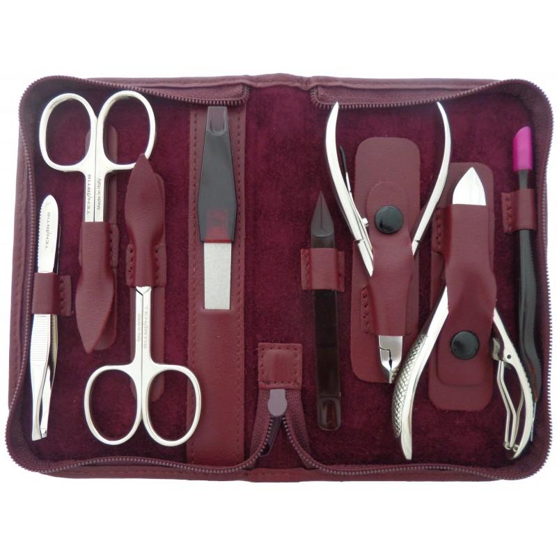 Set Manicure e Pedicure Professionale 8 Pezzi in Vera Pelle Rosso Borgogna con Cerniera - Tenartis Made in Italy