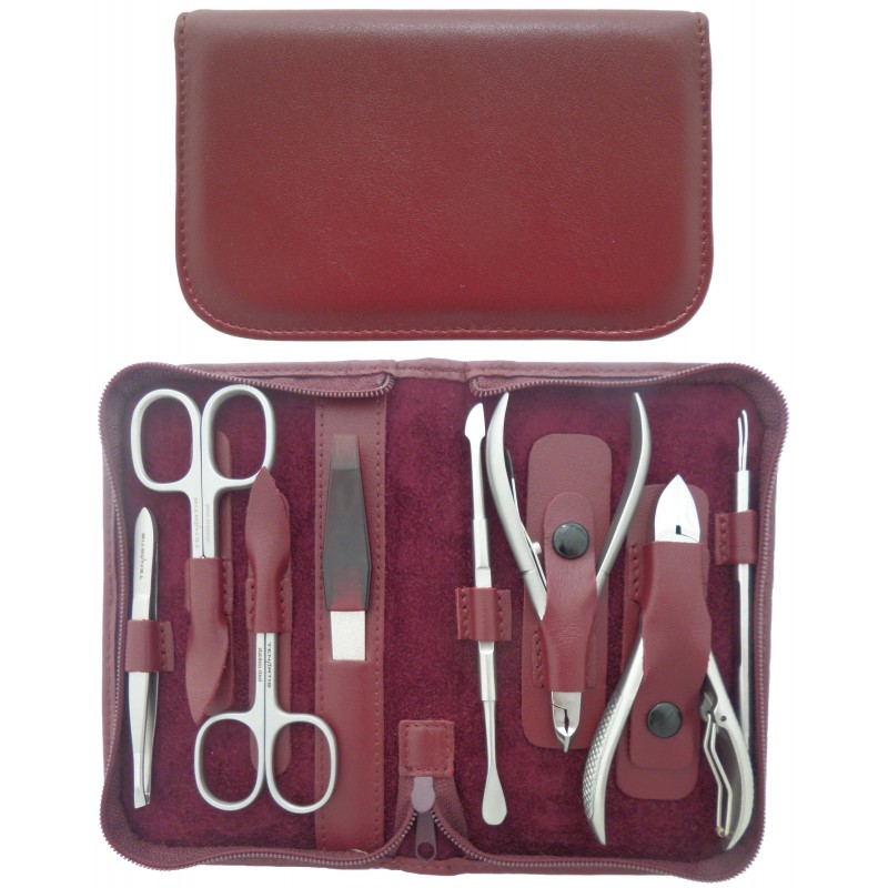8-Piece Stainless Steel Burgundy Genuine Leather Manicure and Pedicure Set with Zipper - Tenartis Made in Italy