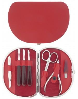 Set Manicure 7 Pezzi Rosso in Vera Pelle - Tenartis Made in Italy