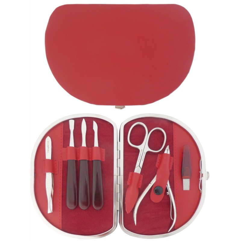 7-Piece Red Genuine Leather Manicure Set - Tenartis Made in Italy