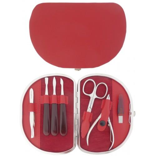 Set Manucure 7 pièces en Cuir Rouge - Tenartis Fabriqué en Italie