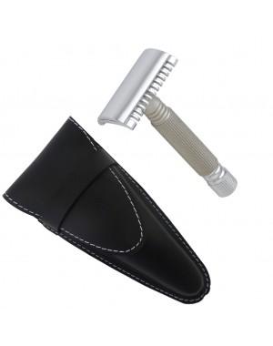 Rasoir de Sécurité à Peigne Ouvert Chrome et Titanium avec Etui en Cuir - Castiles Original