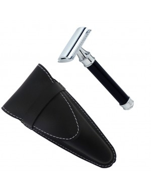 Closed Comb Safety Razor, Chrome-Plated with Black Handle in Leather Case - Castiles Original