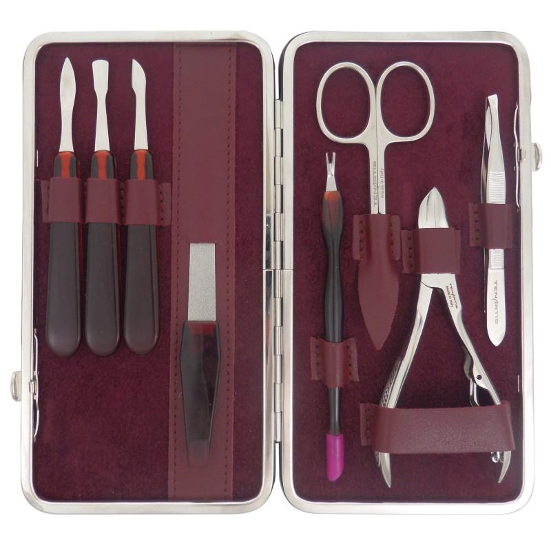 Set Manicure e Pedicure 8 Pezzi in Vera Pelle Bordeaux Nappa - Tenartis Made in Italy