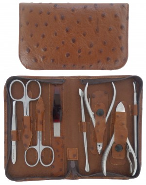 8-Piece Stainless Steel Brown Genuine Leather Manicure and Pedicure Set with Zipper - Tenartis Made in Italy