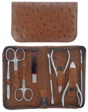 8 teiliges Maniküre und Pediküre Etui aus echtem Leder mit Reißverschluss, Braun, Rostfrei - Tenartis Made in Italy