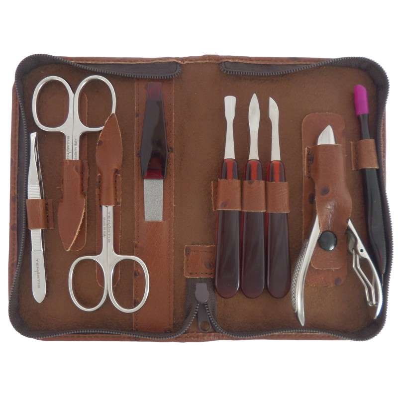 Set Manucure et Pedicure 9 pièces en Cuir Marron avec Fermeture à Glissière - Tenartis Fabriqué en Italie