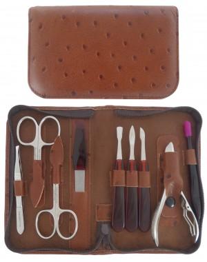 9 teiliges Maniküre und Pediküre Etui aus echtem Leder mit Reißverschluss, Braun - Tenartis Made in Italy