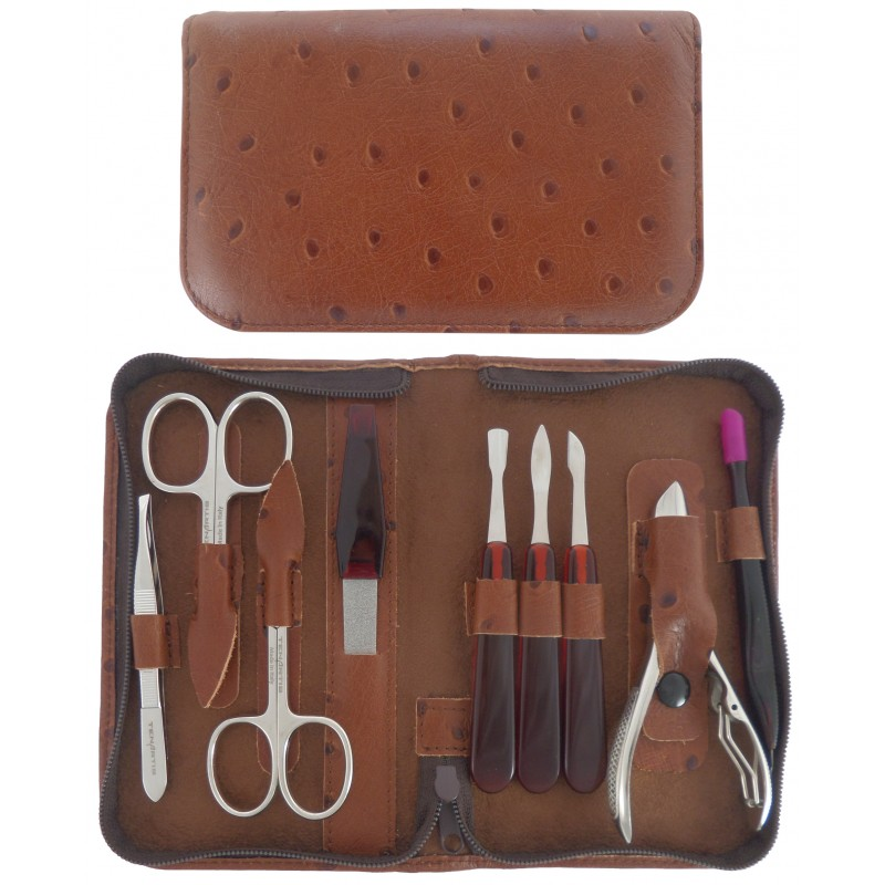 9-Piece Brown Genuine Leather Manicure and Pedicure Set with Zipper - Tenartis Made in Italy