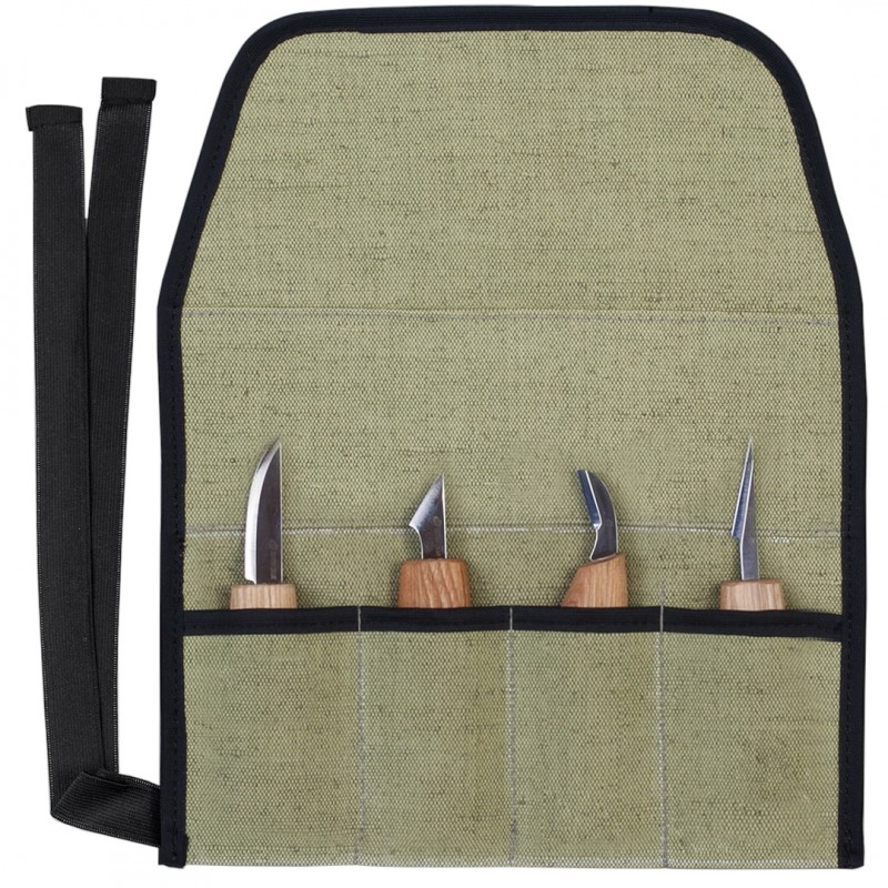 Tool Roll for 4 Wood Carving Knives - BeaverCraft TR4 (Empty)