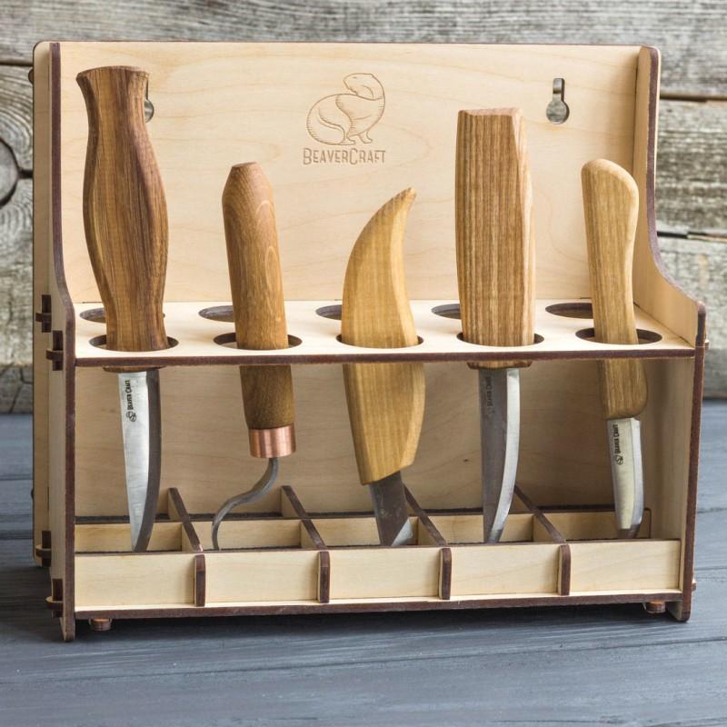 Porte Outils pour 10 Couteaux de Sculpture sur Bois - BeaverCraft TH10 (Vide)