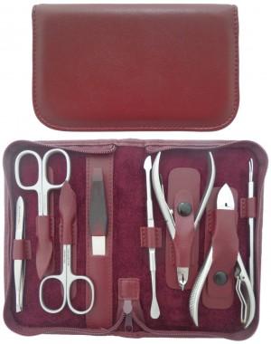 Set Manucure et Pedicure Professionnel 8 Pièces Inox en Cuir avec Fermeture à Glissière - Tenartis Fabriqué en Italie