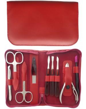 Set Manicura y Pedicura 9 Piezas en Piel Roja con Cremallera - Tenartis Made in Italy